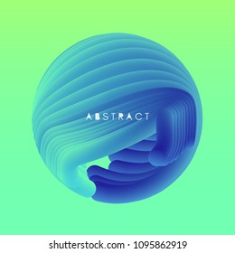 Sphere. 3D Abstract wavy illustration with dynamic effect.