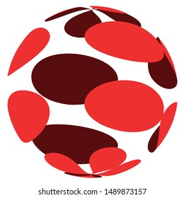 Sphere, 3d circle shape. Abstract ball, globe, orb design. Spherical, orbicular bulb with texture. Bulge, protrude warp effect pattern