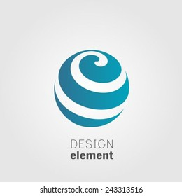 Sphere abstract lines vector logo design template