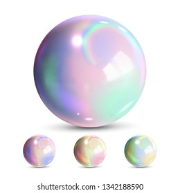 Sphere Ball Vector. Orb Shining. Magic Globe. Fluid Element. Jeweler Perl. Shine Glowing Metal Or Plastic Abstract Circle. Holographic, Gradient. 3D Realistic Illustration