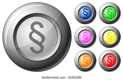 Sphere button paragraph set on a white background. Vector illustration.