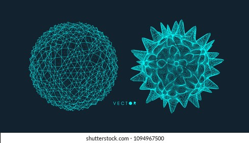 Sphere with connected lines. Crystal. Global digital connections. Wireframe illustration. Abstract 3d grid design. Molecular grid. Futuristic connection structure for chemistry and science.