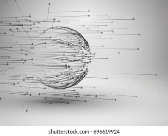 Sphere with connected lines and dots. Wireframe mesh motion element. Connection concept. Technology background. Vector illustration.