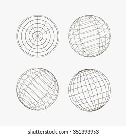 Sphere in different views, vector illustration