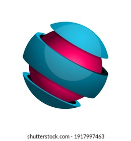 Sphere divided into 3 slices with core. Wrapped sphere. Ball divided to three parts. 3D spherical circle. Symbol for globe, earth, planet. Shiny logo design element. Vector illustration, clip art