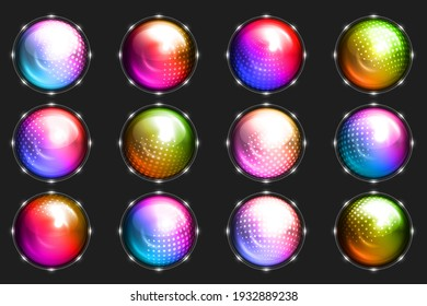 Sphere dot ball abstract dotted circle glowing button element set design vector illustration