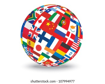 sphere with flags of the world vector illustration