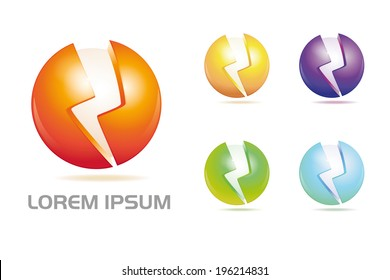 Sphere and flash vector logo design elements. Sphere with engraved flash symbol vector design template