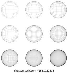 Sphere grid face resolution set, precise symmetry, stroke editable.