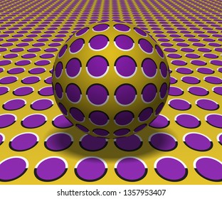 Sphere hovers above the surface. Abstract objects with polka dots pattern. Vector optical illusion illustration.