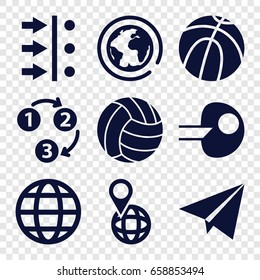 Sphere icons set. set of 9 sphere filled icons such as pin on globe, volleyball, globe, 1 2 3, paper plane, atom move, core, planet
