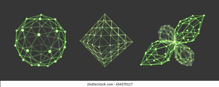 Sphere. Octahedron. 3d vector wireframe object. Illustration with connected lines and dots. Geometric Shape for Design. Abstract grid design. Connection structure. Technology style.