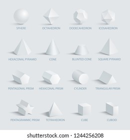 Sphere and octahedron, different geometric shapes with shades and headlines placed below images, icons on vector illustration isolated on white