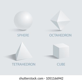 Sphere octahedron tetrahedron and cube three dimensional 3D geometric shapes with shadow isolated on white, sphere and cube, tetrahedron octahedron