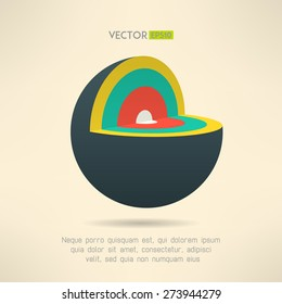 Sphere section icon in colorful design. Circle layers infographics element. Vector illustration.