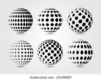 Sphere vector illustration..Halftone vector design element.Abstract round logo.