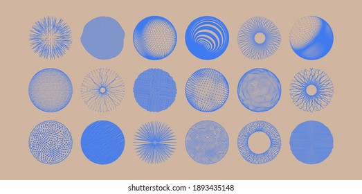 Spheres formed by many dots or lines. Abstract design elements. 3d vector illustration for science, education or medicine.