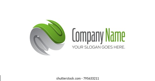 Spherical business logo with two curved symbols, green-grey vector concept