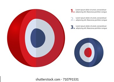 Spherical diagram consisting of 3 layers. Infographic set for presentations. Layered sphere. Round design element isolated on white background. Vector illustration.
