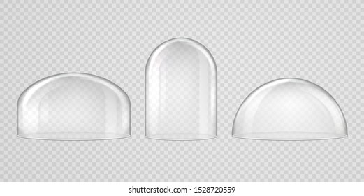 Spherical glass domes on transparent background. Set of transparent forms for kitchen utensils, exhibitions and presentations, Christmas souvenirs.