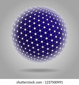 Spherical shape Tesseract, on a blue basis