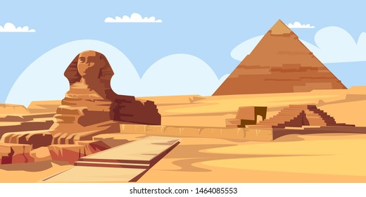 Sphinx and pyramid flat vector illustration. Beautiful scenery with no people. Landscape tourism, summer vacation spot. Travel to Egypt, egyptian architecture. World wonder, ancient landmarks