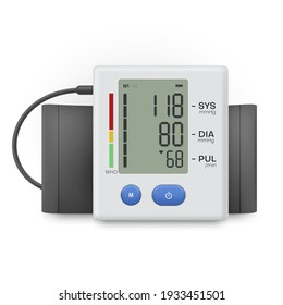 Sphygmomanometer electronic device realistic icon. Medical diagnostic monitor, gauge or sensor, showing heart rate, systolic and diastolic blood pressure. Vector illustration isolated on white.