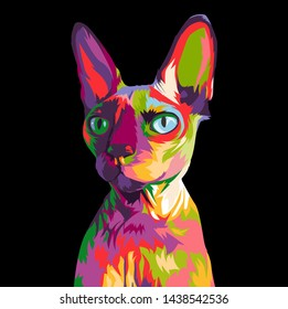 Sphynx cat in colorful pop art illustration. Cute sphynx cat