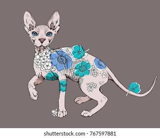 Sphynx cat with a flowers decor art. Vector illustration.