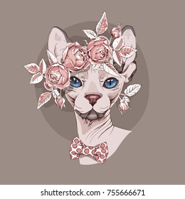Sphynx Cat in a Rose flower wreath and in a polka dot bow tie on a beige background. Vector illustration.