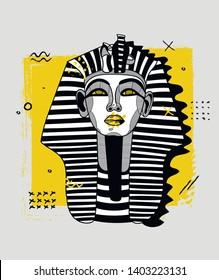 Sphynx sculpture. Vector illustration hand drawn. Creative geometric portrait.