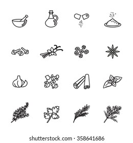spice, condiment and herb icons set. Line Style stock vector.