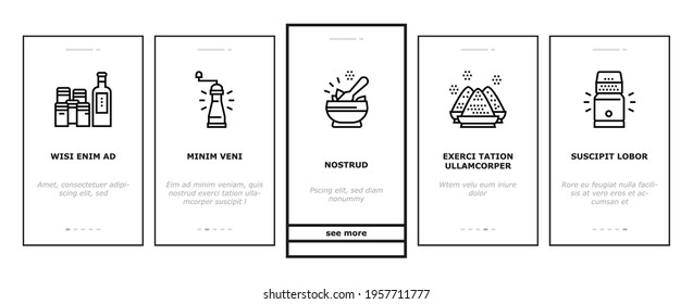 Spice Condiment Herb Onboarding Mobile App Page Screen Vector. Salt And Pepper For Flavoring Meal In Kitchen Utensil. Spice On Spoon And Palm Illustrations