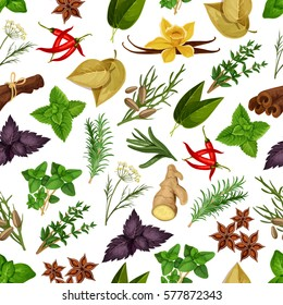 Spice and herb seamless pattern background. Natural rosemary, anise and chilli pepper, mint, dill and basil, cumin, ginger and bay, vanille, sage, thyme, cinnamon and oregano. Healthy food theme
