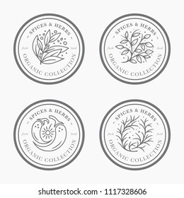 Spice and herb vintage label collection. Black and white round sticker templates for packaging design. Fresh local organic collection - logo in trendy linear style