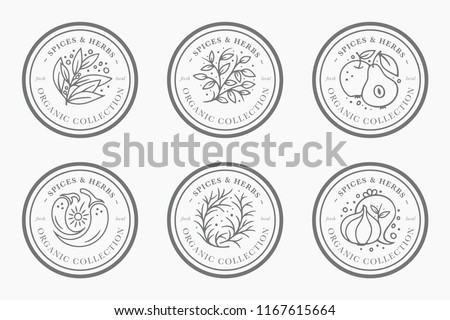 spice and herb vintage label collection black and white round sticker templates for packaging design