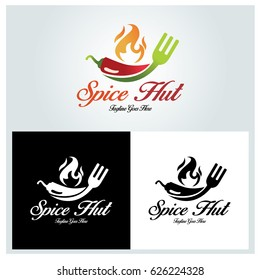 Spice hut logo design template. Family restaurant logo. Vector illustration