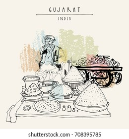 Spice market in Gujarat, India. Old Indian man wearing traditional attire with a turban. Travel sketch. Vintage hand drawn postcard in vector