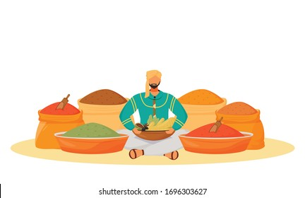 Spice shop flat concept vector illustration. Man sitting in lotus position, condiments street seller 2D cartoon character for web design. Indian traditional flavourings trading creative idea
