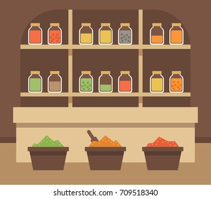 Spice shop interior, flat style vector illustration.
