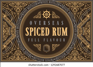 Spiced Rum - ornate vintage decorative label