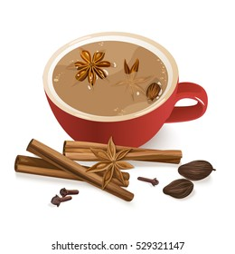 Spiced Tea. Warming beverage with cinnamon, star anise, cardamom,  cloves and nutmeg. Decorative vector illustration with spices and ingredients to cook indian masala tea on chalkboard background.