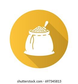 Spices bag flat design long shadow glyph icon. Bulk flavoring, seasoning. Vector silhouette illustration