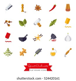 Spices and Condiments Flat Design Icon set. Collection of spices, condiments, herbs and seasoning flat design isolated icons