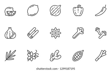 Spices, Condiments and Herbs Vector Line Icons Set. Seasonings for Marinade and Canning. Cooking Tasty and Healthy Food. National Cuisine. Editable Stroke. 48x48 Pixel Perfect.