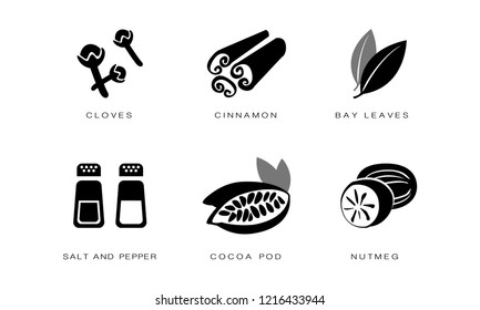 Spices and condiments icons set, cloves, cinnamon, bay leaves, salt and pepper, cocoa pod, nutmeg black badges vector Illustration on a white background