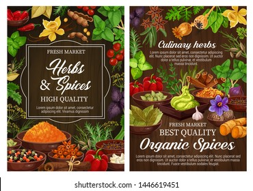 Spices and culinary herbs, vegetarian seasoning and natural condiments. Rosemary, mint and basil, vanilla, cinnamon and chilli pepper, ginger, cardamom and bay leaf, thyme, star anise, nutmeg, saffron