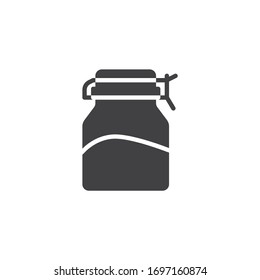 Spices glass jar vector icon. Condiment bottle filled flat sign for mobile concept and web design. Mason jar glyph icon. Symbol, logo illustration. Vector graphics