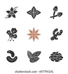 Spices glyph icons set. Seasonings, flavorings. Silhouette symbols. Vanilla flower, basil, clove, coriander, anise, ginger, cashew nuts, almond, pinenuts. Vector isolated illustration