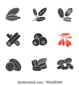 Spices glyph icons set. Silhouette symbols. Cardamom, bay leaves, pecan nut, cinnamon, allspice, goji berries, nutmeg, pistachio, peanut. Vector isolated illustration